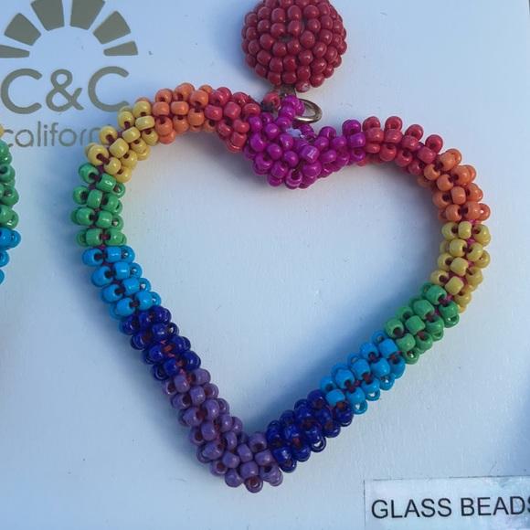 C&C California Rainbow Heart statement earrings